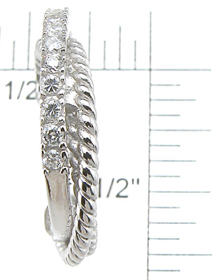 925 Sterling Silver Rhodium Finish Brilliant Hoop Pave Earrings