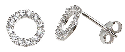 925 Sterling Silver Rhodium Finish CZ Fashion Earrings
