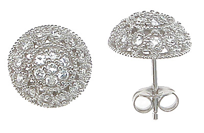 925 Sterling Silver Rhodium Finish CZ Antique Style Earrings
