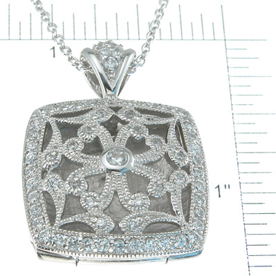 925 Sterling Silver Rhodium Finish CZ Brilliant Locket Antique Style Necklace