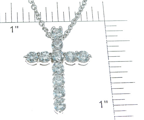 925 Sterling Silver Rhodium Finish CZ Cross Necklace