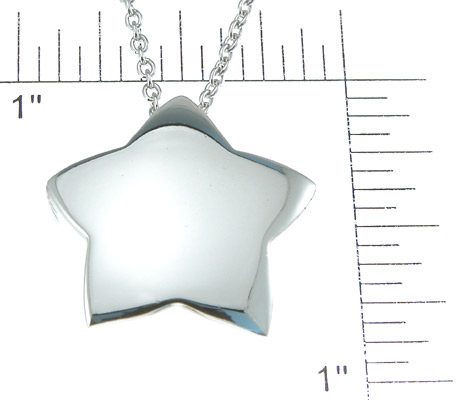 925 Sterling Silver Rhodium Finish Star Fashion Necklace