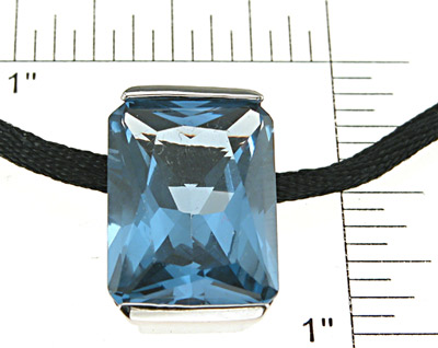 925 Sterling Silver Rhodium Finish Simulated Topaz Pendant