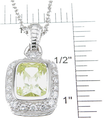 925 Sterling Silver Rhodium Finish Emerald Cut Antique Style Pave Pendant