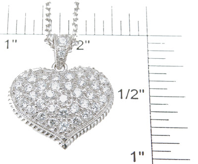 925 Sterling Silver Rhodium Finish Brilliant Tiffany Style Pave Pendant
