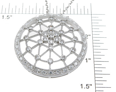 925 Sterling Silver Rhodium Finish Brilliant Fashion Pave Pendant