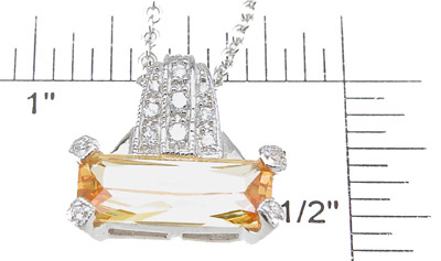 925 Sterling Silver Rhodium Finish Emerald Cut Antique Style Prong Pendant