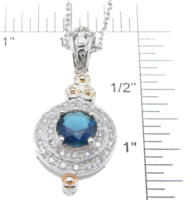 925 Sterling Silver Rhodium Finish Brilliant Antique Style Pave Pendant