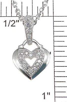 925 Sterling Silver Rhodium Finish CZ Heart Pendant