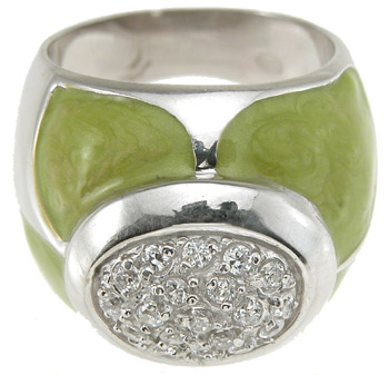 925 Sterling Silver Rhodium Finish Brilliant Pave Anniversary Ring