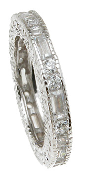 925 Sterling Silver Rhodium Finish Brilliant & Baguettes Antique Style Engagement Band