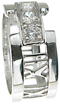 925 Sterling Silver Rhodium Finish CZ Brilliant Tiffany Style Band