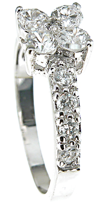 925 Sterling Silver Rhodium Finish CZ Brilliant Fashion Pave Ring