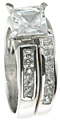 925 Sterling Silver Rhodium Finish CZ Princess Solitaire Engagement Ring
