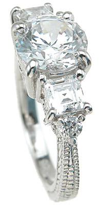 925 Sterling Silver Rhodium Finish CZ Princess Antique Style Engagement Ring