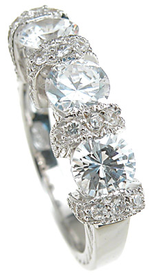 925 Sterling Silver Rhodium Finish CZ Antique Style Engagement Ring