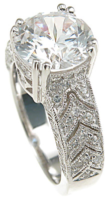 925 Sterling Silver Rhodium Finish CZ Antique Style Pave Wedding Ring