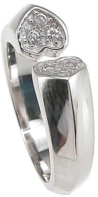 925 Sterling Silver Rhodium Finish Heart Pave Anniversary Ring