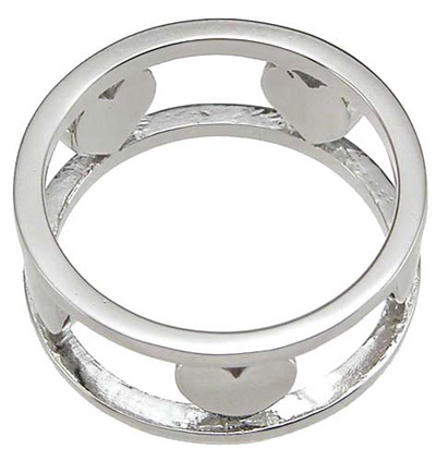 925 Sterling Silver Rhodium Finish Heart Anniversary Band