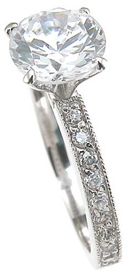 925 Sterling Silver Rhodium Finish CZ Brilliant Pave Engagement Ring
