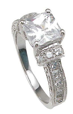 925 Sterling Silver Rhodium Finish CZ Princess Channel Engagement Ring