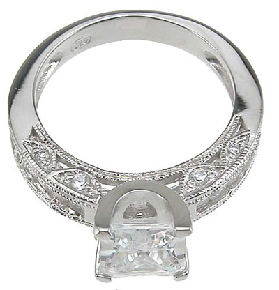 925 Sterling Silver Rhodium Finish CZ Princess Channel Wedding Ring