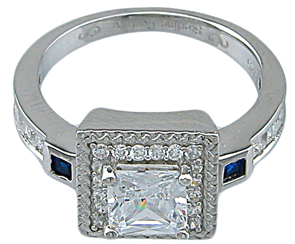 1 1/4ct princess Sterling Couture 925 silver wedding ring