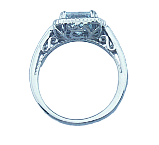 2ct double prong 925 silver Sterling Couture engagement ring