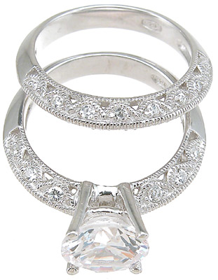 925 Sterling Silver Rhodium Finish CZ Antique Style Wedding Set Ring