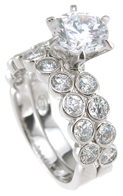 925 Sterling Silver Rhodium Finish CZ Brilliant Tiffany Style Wedding Ring