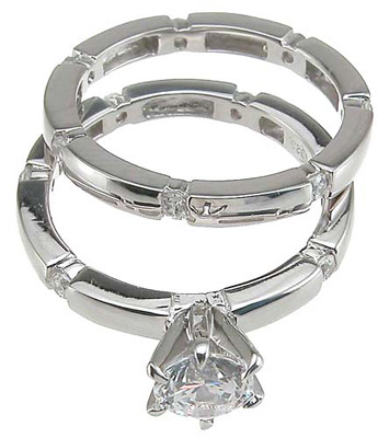 925 Sterling Silver Rhodium Finish CZ Solitaire Engagement Set Ring