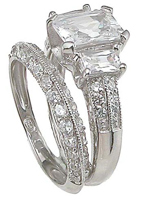 925 Sterling Silver Rhodium Finish CZ Emerald Cut Three Stone Engagement Set Ring