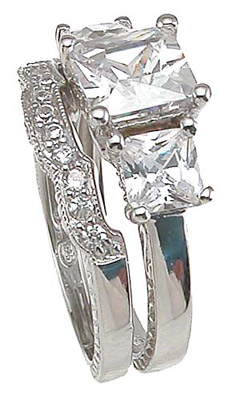 925 Sterling Silver Rhodium Finish CZ Princess Three Stone Engagement Set Ring