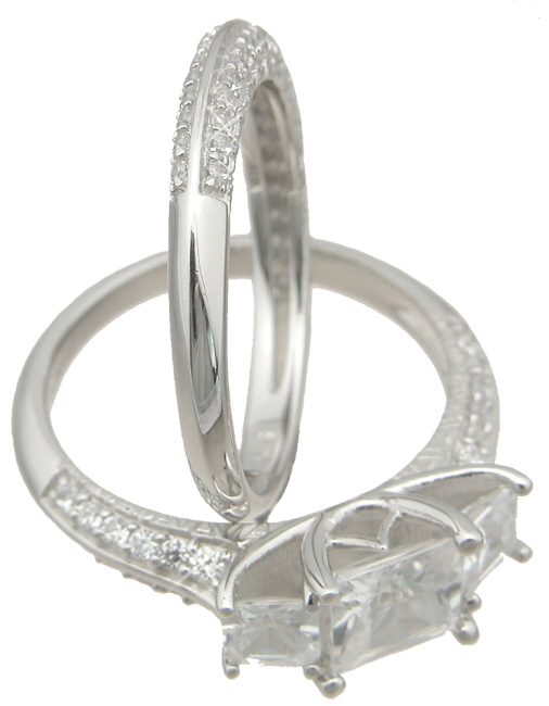 dropship 925 sterling silver three stone wedding ring set