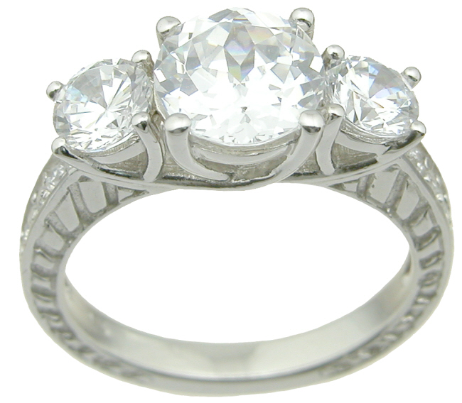 drop ship 925 sterling silver three stone wedding ring set
