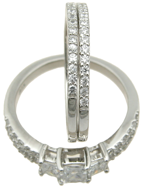 dropship 925 sterling silver double band wedding ring set