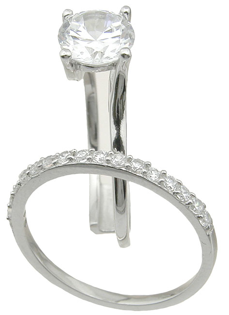 drop ship 925 sterling silver interlocking wedding ring set