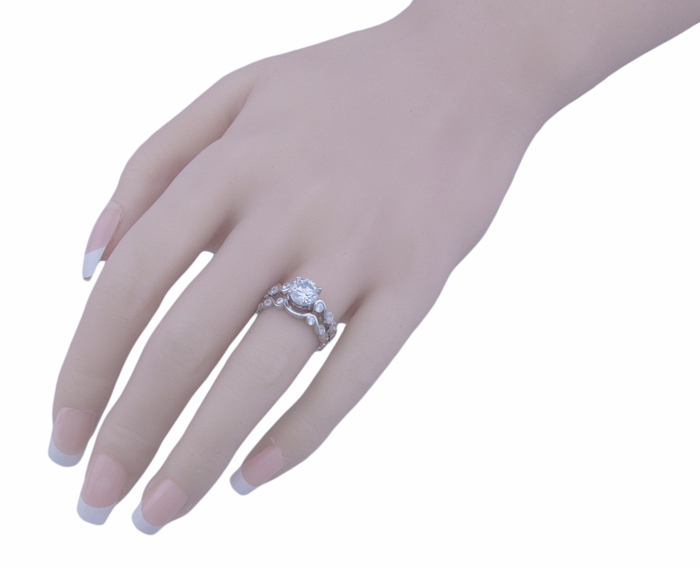 1.25ct brilliant 925 silver Sterling Couture engagement ring set