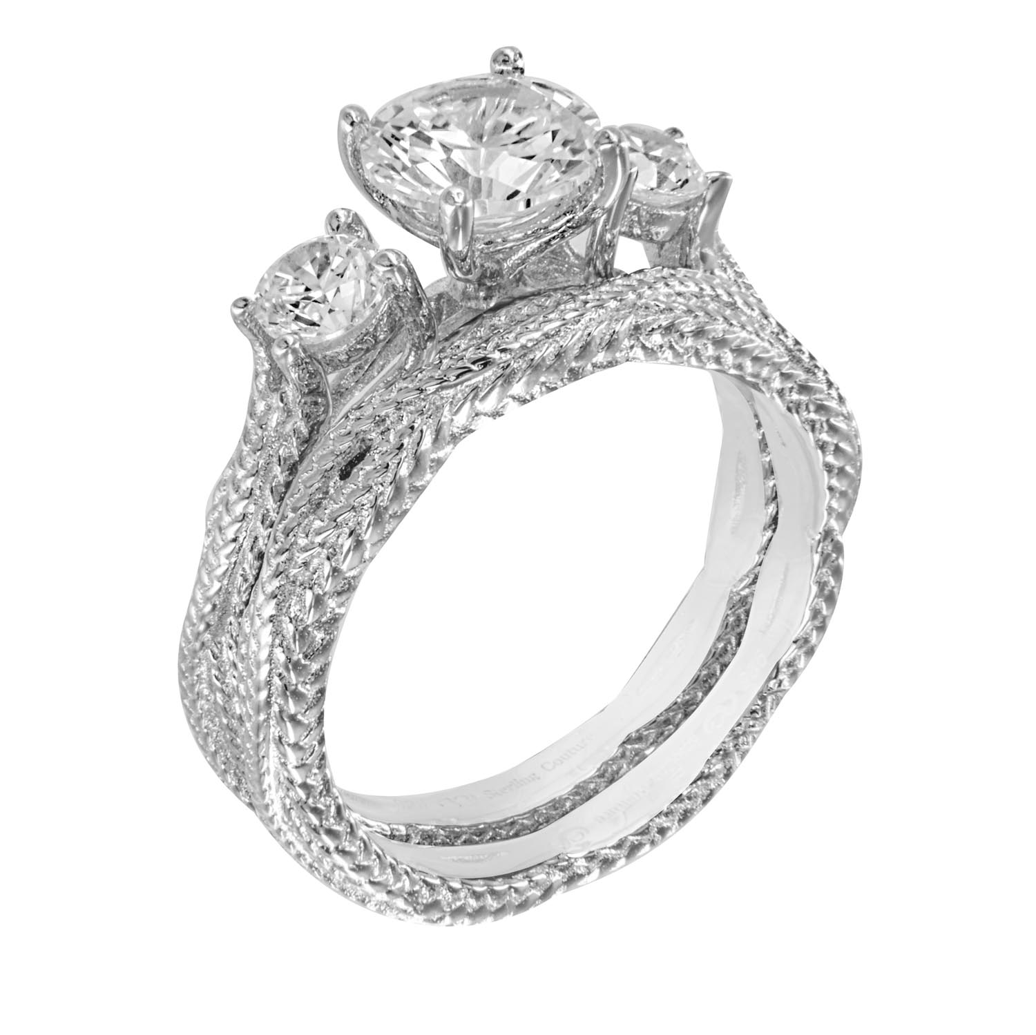 1.25ct brilliant 925 silver braid Sterling Couture wedding ring set