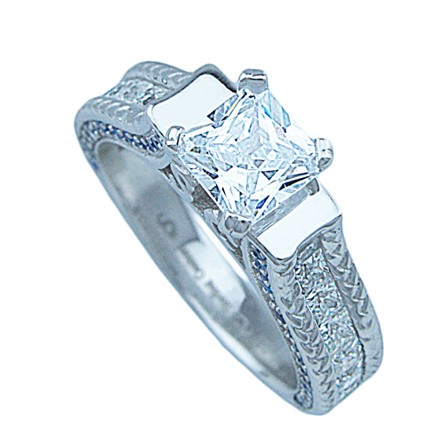 1.5ct princess 925 silver Sterling Couture engagement ring set