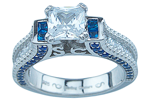 1 1/2ct princess 925 silver Sterling Couture engagement ring set