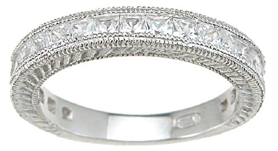 925 Sterling Silver Rhodium Finish CZ Princess Wedding Set Ring